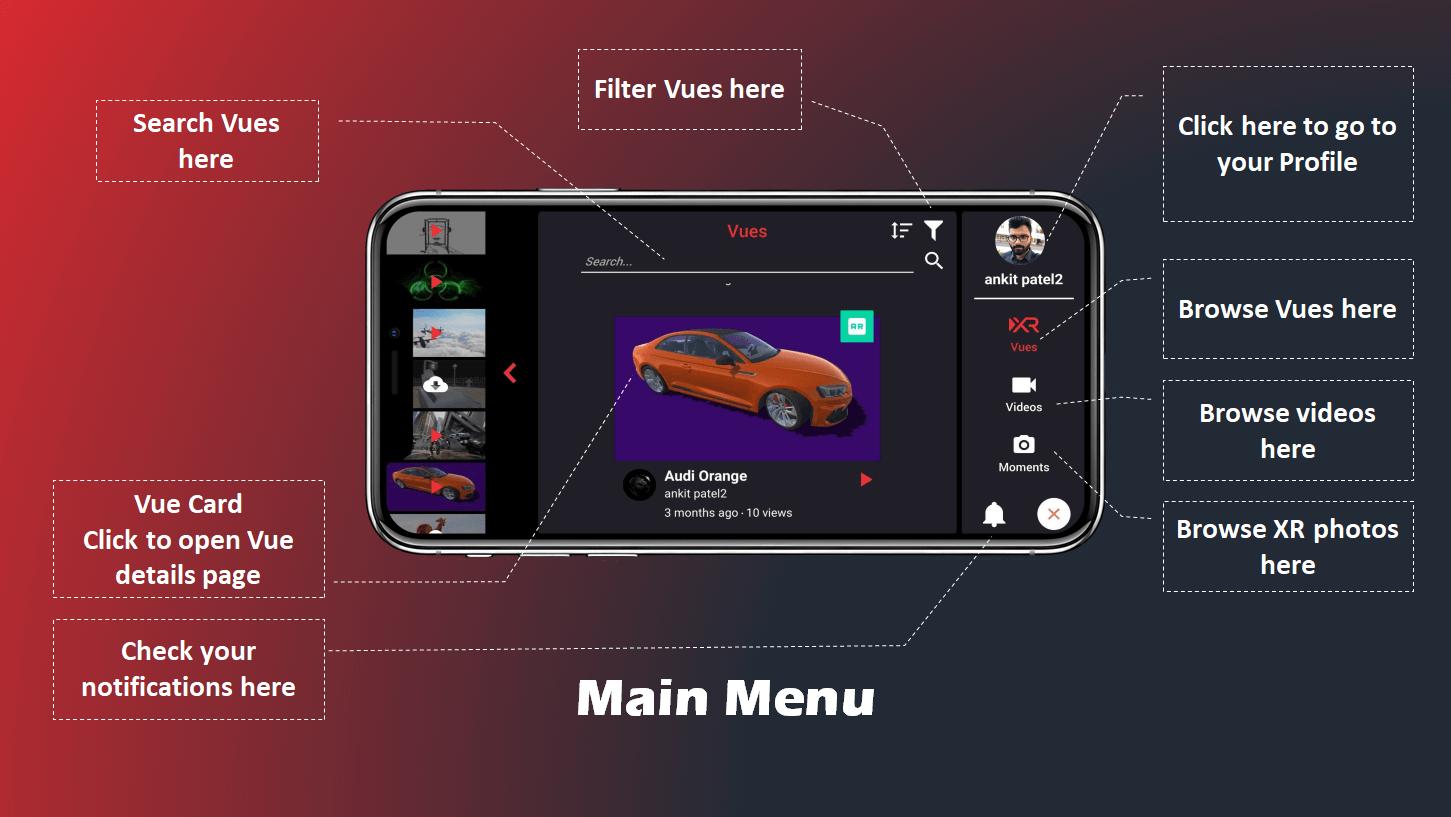 VueXR main menu