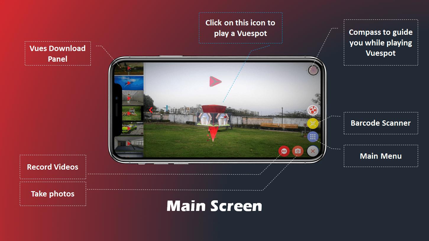 VueXR main screen